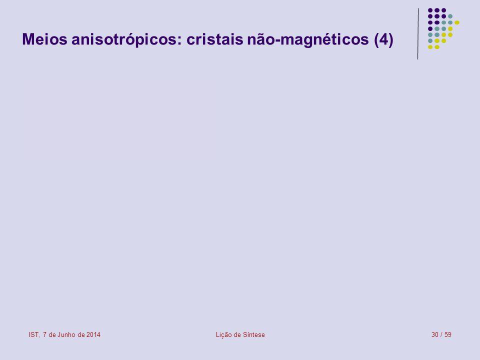 Meios anisotrópicos: cristais não-magnéticos (4)