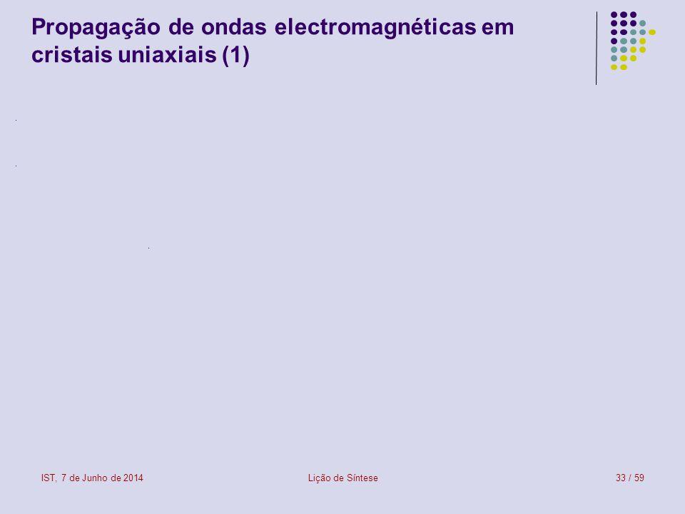 Propagação de ondas electromagnéticas em cristais uniaxiais (1)