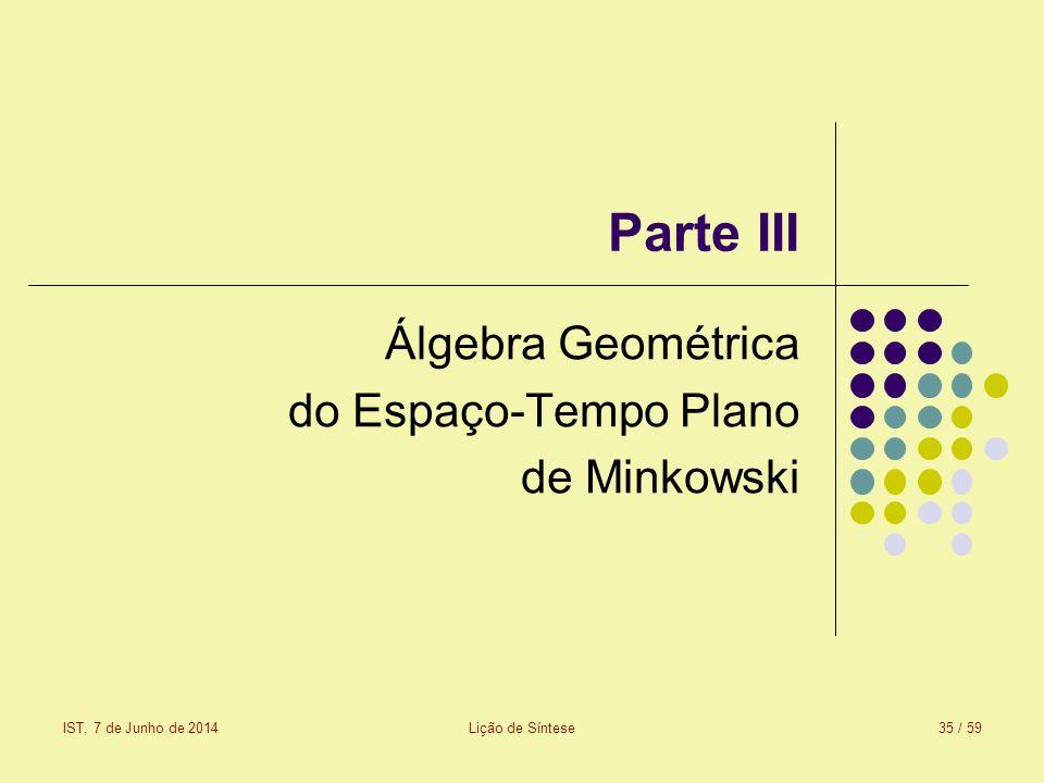 Álgebra Geométrica do Espaço-Tempo Plano de Minkowski