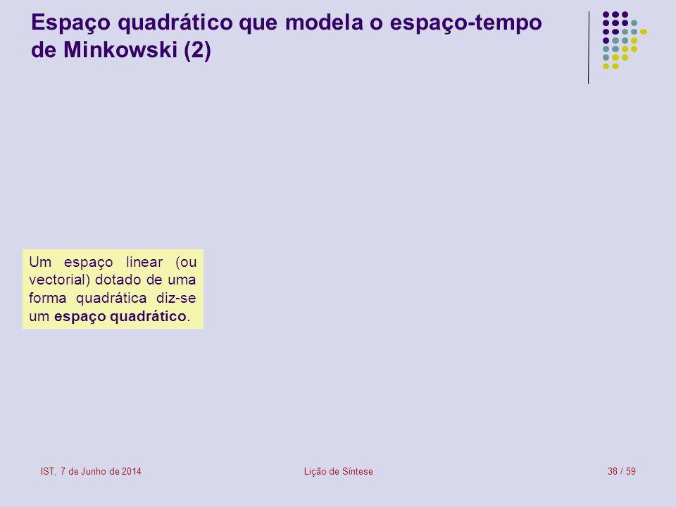Espaço quadrático que modela o espaço-tempo de Minkowski (2)
