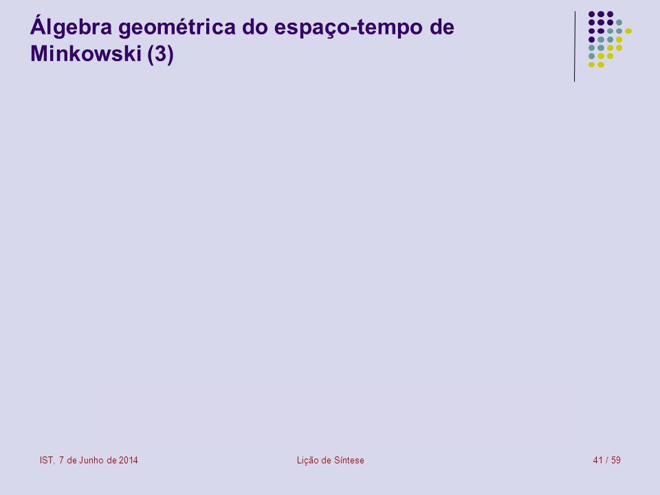 Álgebra geométrica do espaço-tempo de Minkowski (3)