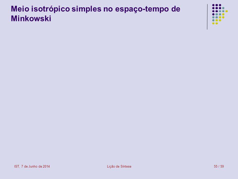 Meio isotrópico simples no espaço-tempo de Minkowski