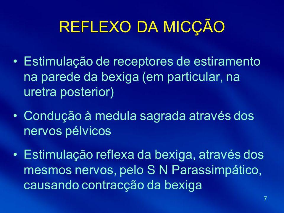 REFLEXO DA MICÇÃO Estimulação de receptores de estiramento na parede da bexiga (em particular, na uretra posterior)