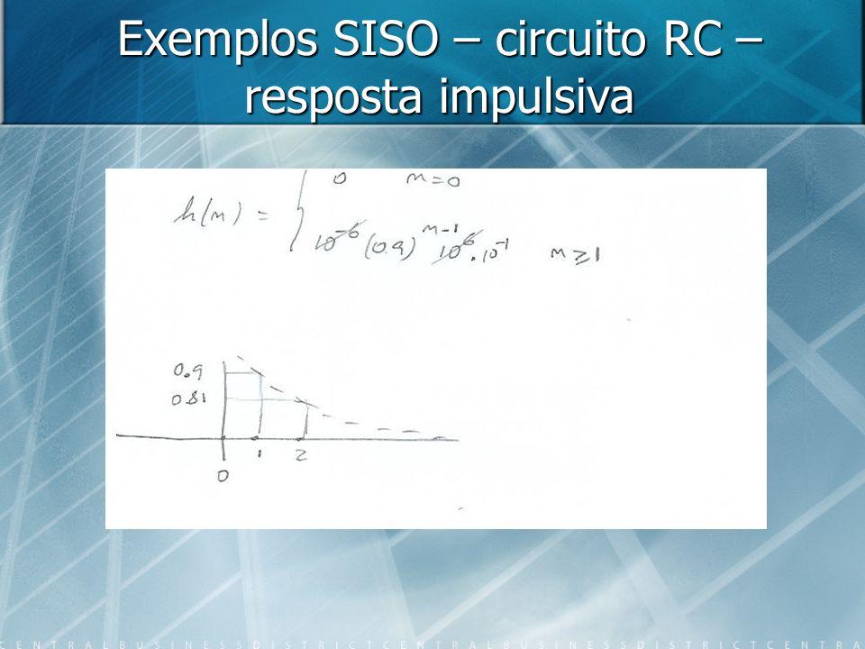 Exemplos SISO – circuito RC – resposta impulsiva