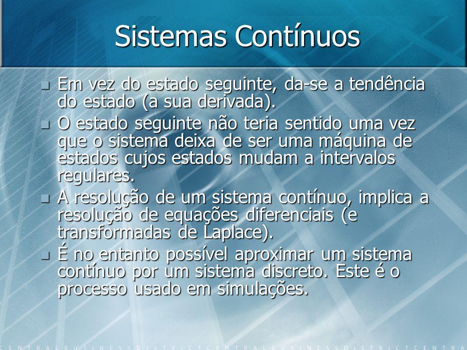 Sistemas Contínuos Em vez do estado seguinte, da-se a tendência do estado (a sua derivada).