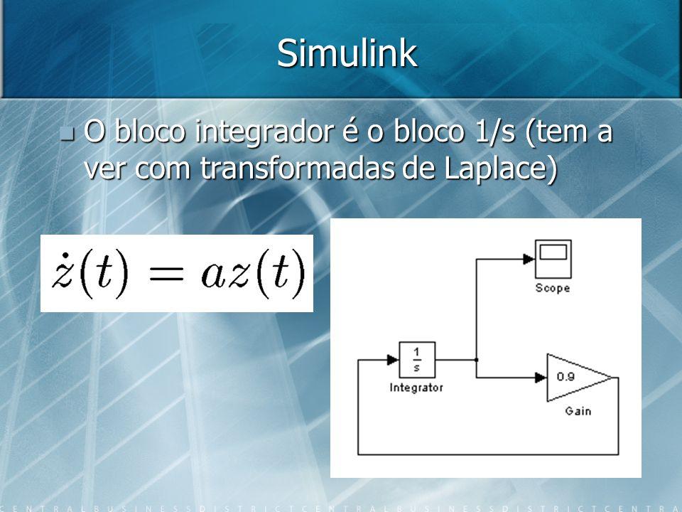Simulink O bloco integrador é o bloco 1/s (tem a ver com transformadas de Laplace)