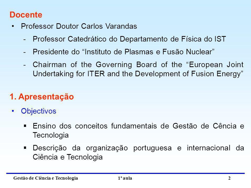 Docente 1. Apresentação Professor Doutor Carlos Varandas