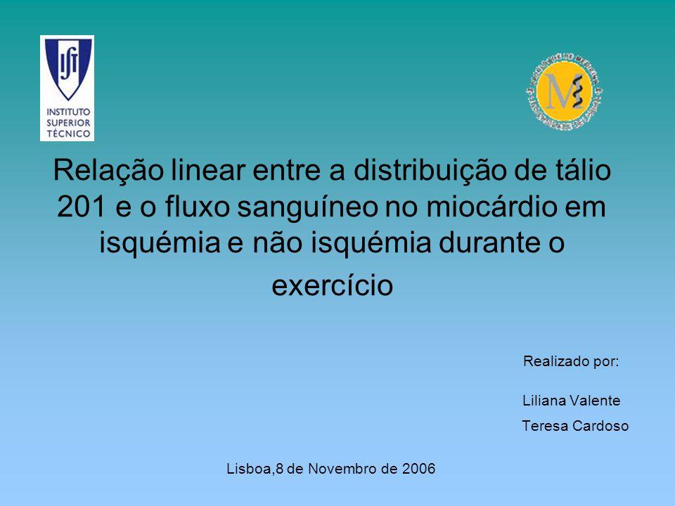 Relação linear entre a distribuição de tálio 201 e o fluxo sanguíneo no miocárdio em isquémia e não isquémia durante o exercício