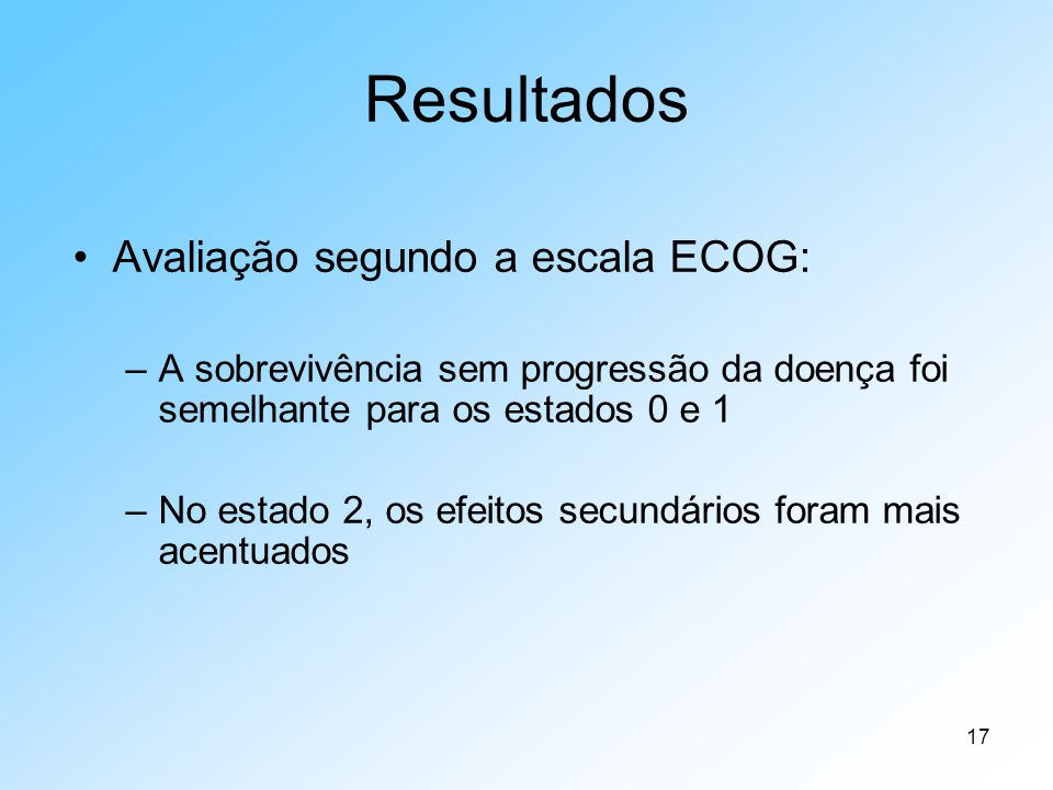 Resultados Avaliação segundo a escala ECOG: