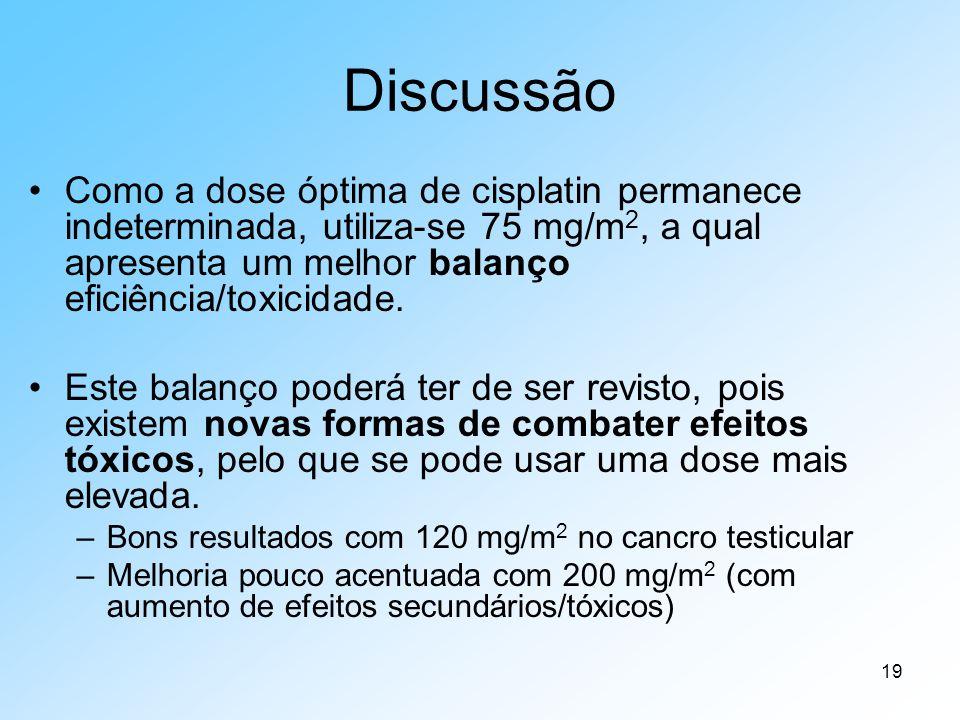 Discussão Como a dose óptima de cisplatin permanece indeterminada, utiliza-se 75 mg/m2, a qual apresenta um melhor balanço eficiência/toxicidade.