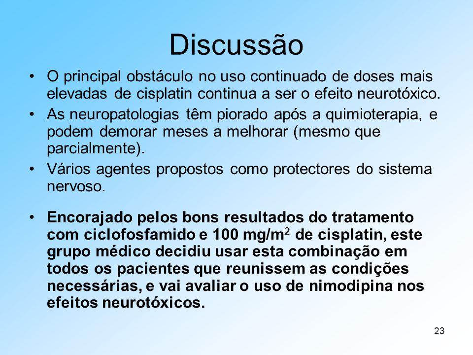 Discussão O principal obstáculo no uso continuado de doses mais elevadas de cisplatin continua a ser o efeito neurotóxico.