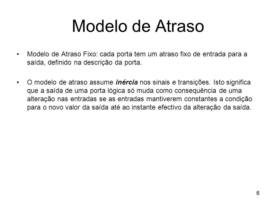 Modelo de Atraso Modelo de Atraso Fixo: cada porta tem um atraso fixo de entrada para a saída, definido na descrição da porta.