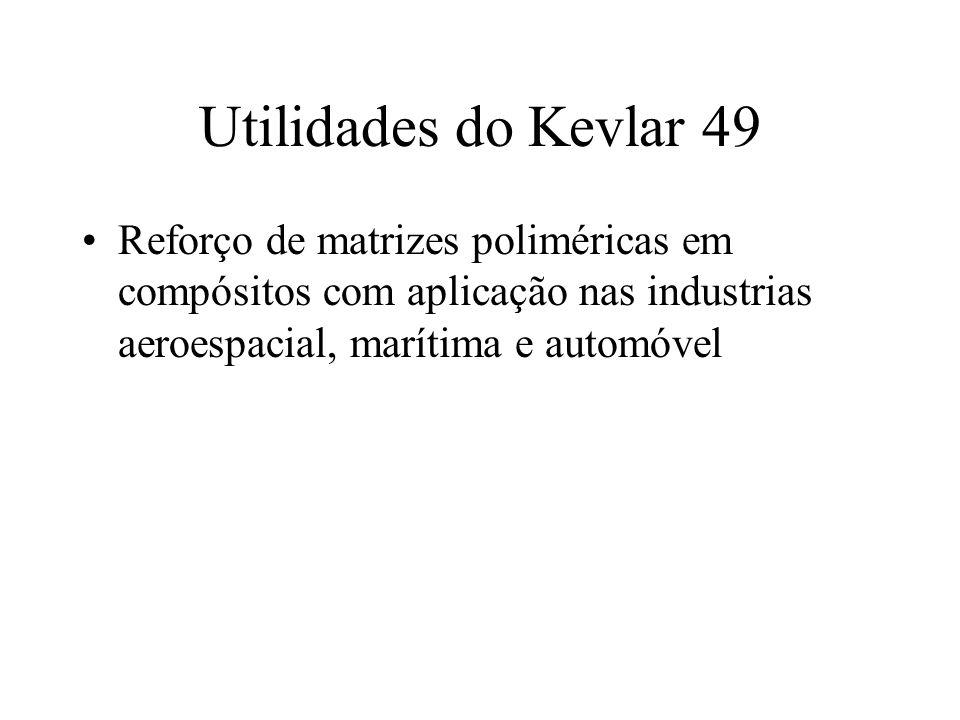 Utilidades do Kevlar 49 Reforço de matrizes poliméricas em compósitos com aplicação nas industrias aeroespacial, marítima e automóvel.