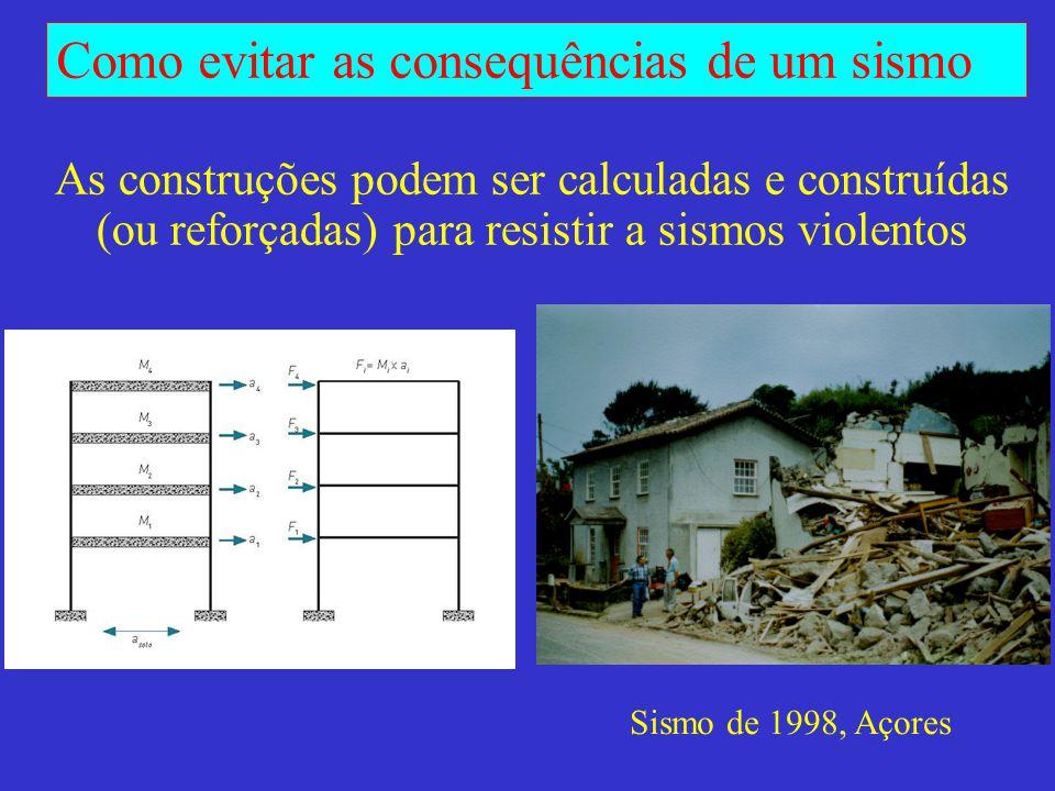 As construções podem ser calculadas e construídas (ou reforçadas) para resistir a sismos violentos