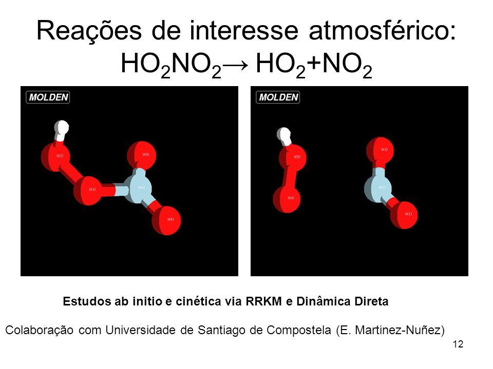 Reações de interesse atmosférico: HO2NO2→ HO2+NO2