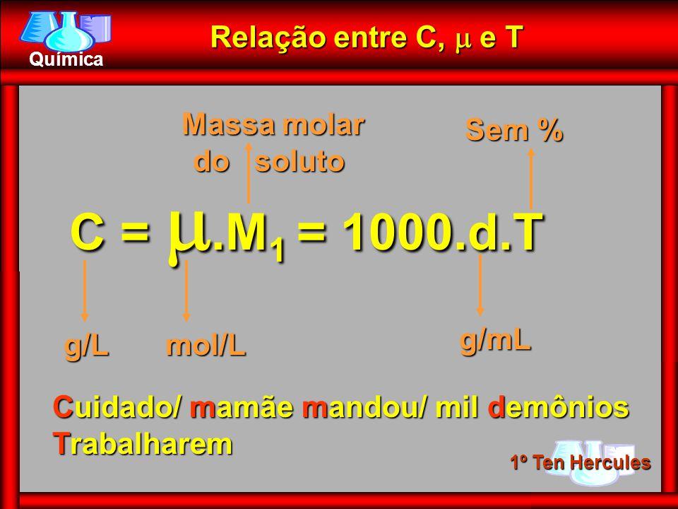 C = .M1 = 1000.d.T Relação entre C,  e T Massa molar do soluto Sem %