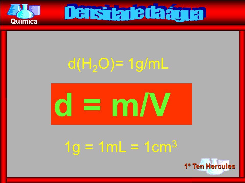 Densidade da água d(H2O)= 1g/mL d = m/V 1g = 1mL = 1cm3