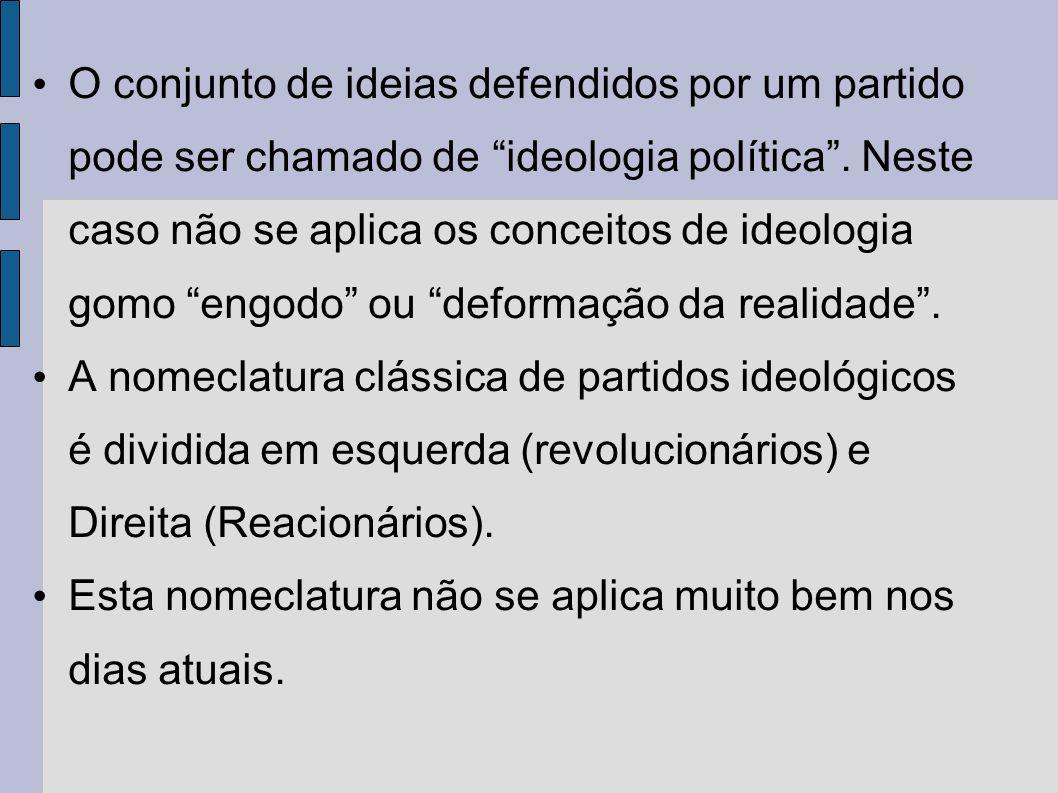 O conjunto de ideias defendidos por um partido pode ser chamado de ideologia política . Neste caso não se aplica os conceitos de ideologia gomo engodo ou deformação da realidade .