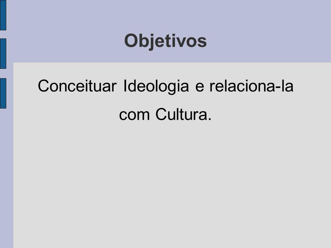 Conceituar Ideologia e relaciona-la com Cultura.