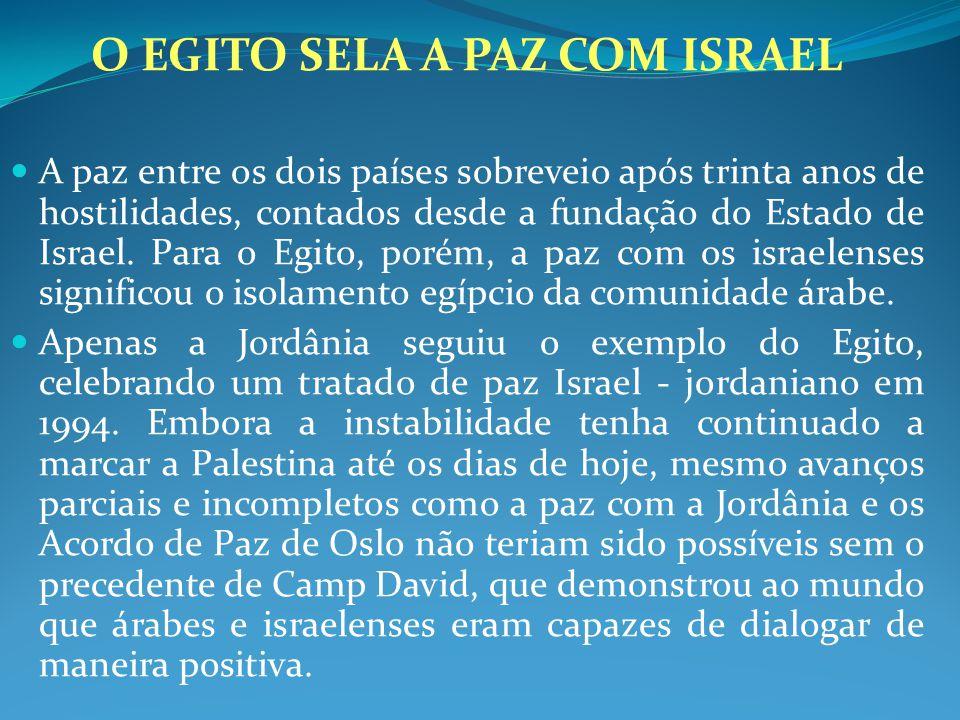 O EGITO SELA A PAZ COM ISRAEL