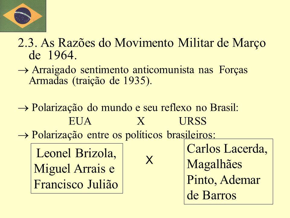 2.3. As Razões do Movimento Militar de Março de 1964.
