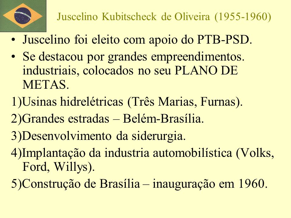 Juscelino Kubitscheck de Oliveira (1955-1960)