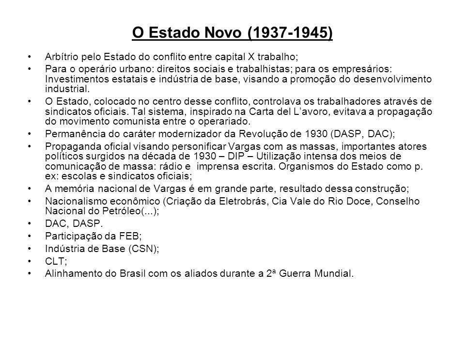 O Estado Novo (1937-1945) Arbítrio pelo Estado do conflito entre capital X trabalho;
