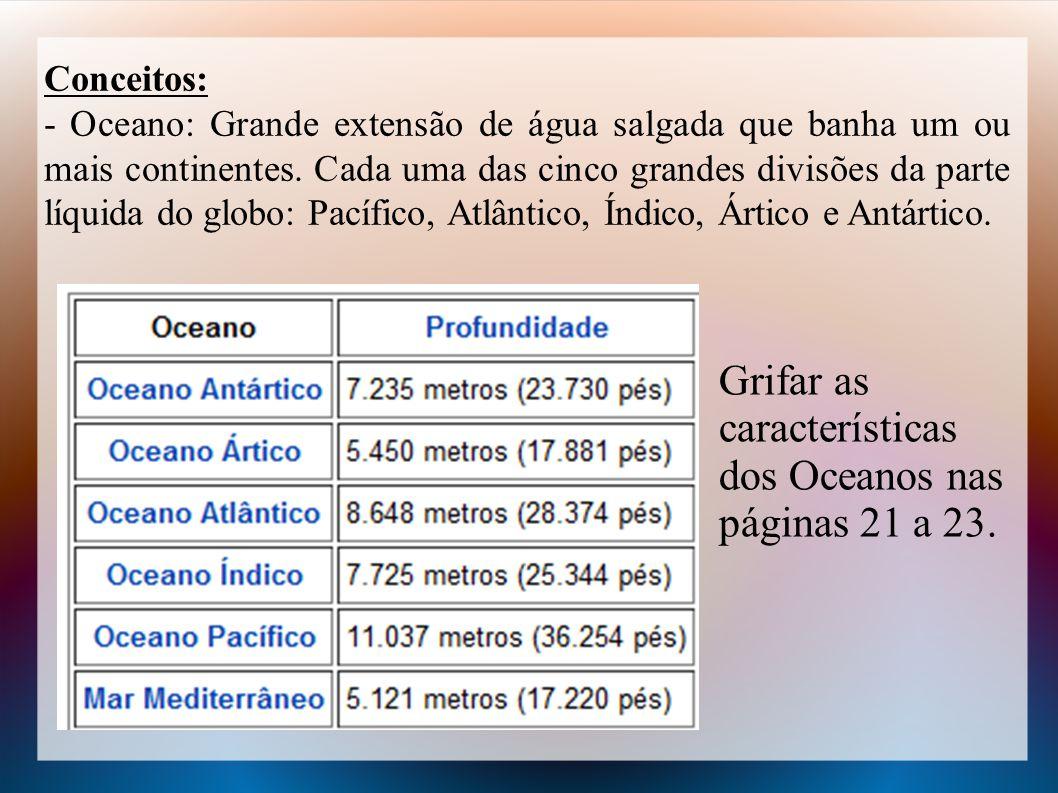 Grifar as características dos Oceanos nas páginas 21 a 23.