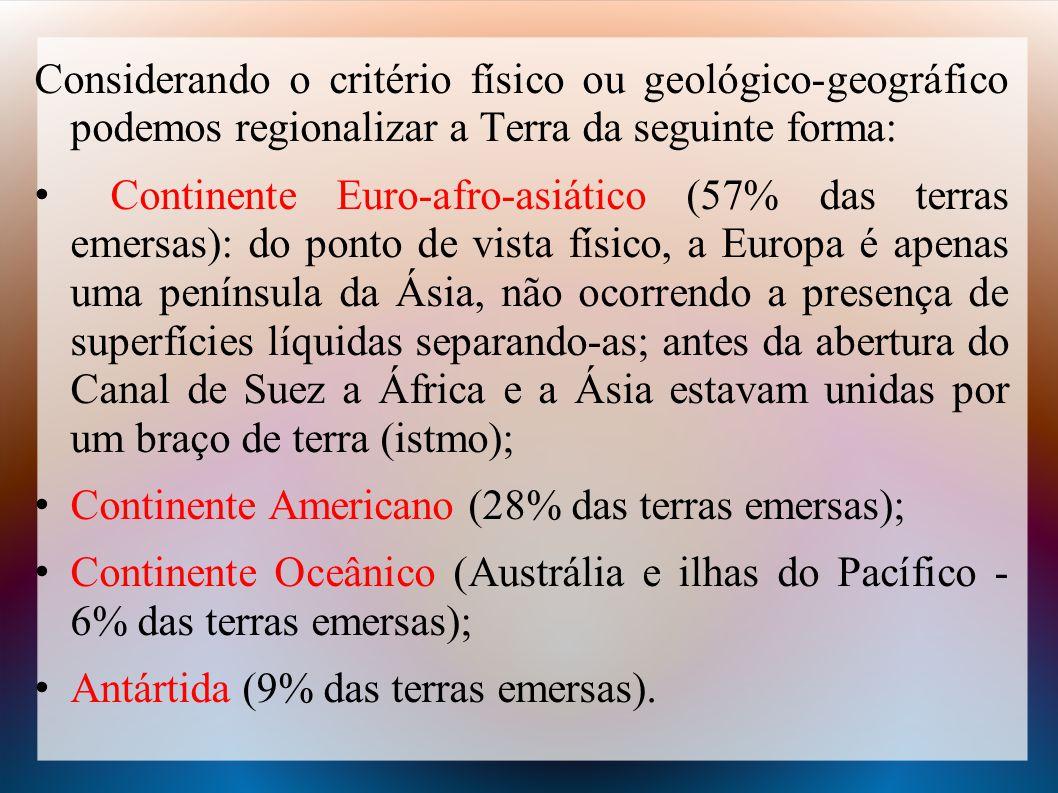 Considerando o critério físico ou geológico-geográfico podemos regionalizar a Terra da seguinte forma:
