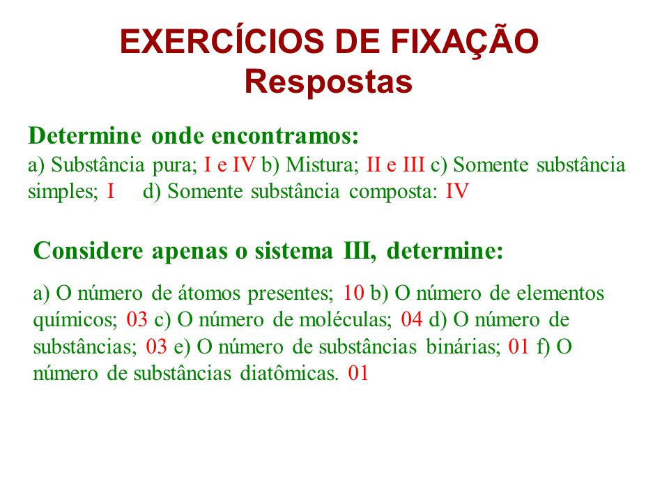 EXERCÍCIOS DE FIXAÇÃO Respostas
