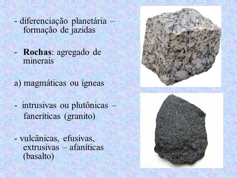 - diferenciação planetária – formação de jazidas