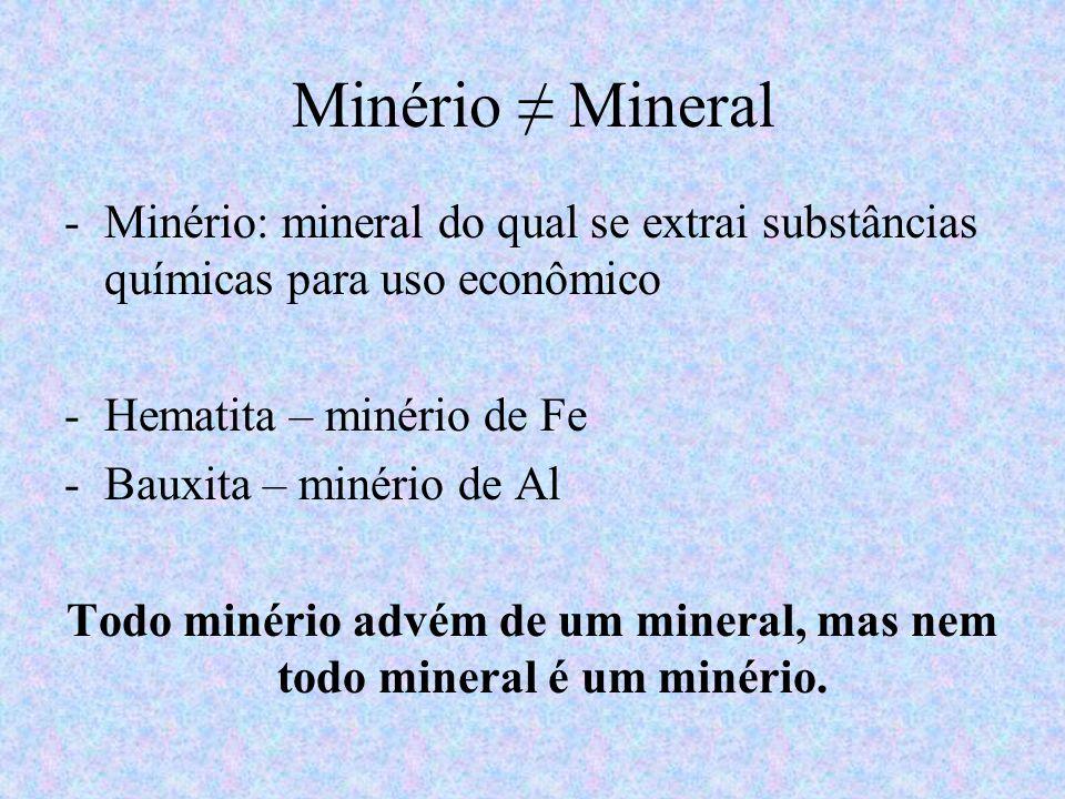 Todo minério advém de um mineral, mas nem todo mineral é um minério.