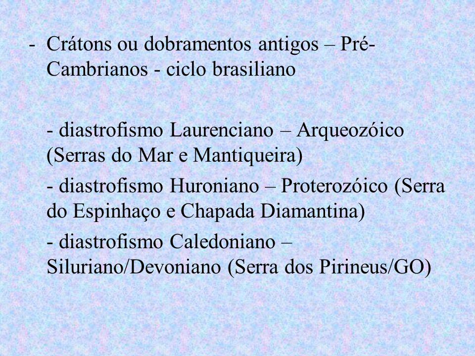 Crátons ou dobramentos antigos – Pré-Cambrianos - ciclo brasiliano