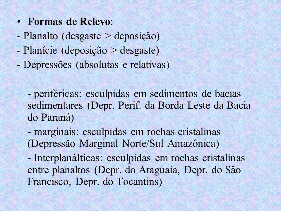 Formas de Relevo: - Planalto (desgaste > deposição) - Planície (deposição > desgaste) - Depressões (absolutas e relativas)