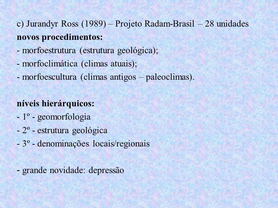 c) Jurandyr Ross (1989) – Projeto Radam-Brasil – 28 unidades