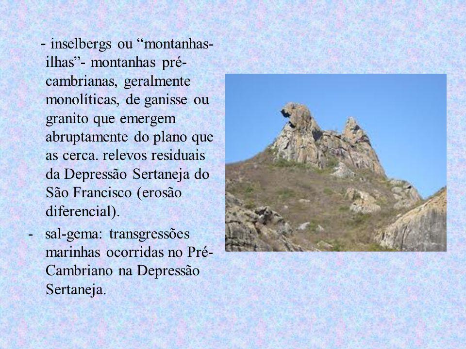 - inselbergs ou montanhas-ilhas - montanhas pré-cambrianas, geralmente monolíticas, de ganisse ou granito que emergem abruptamente do plano que as cerca. relevos residuais da Depressão Sertaneja do São Francisco (erosão diferencial).