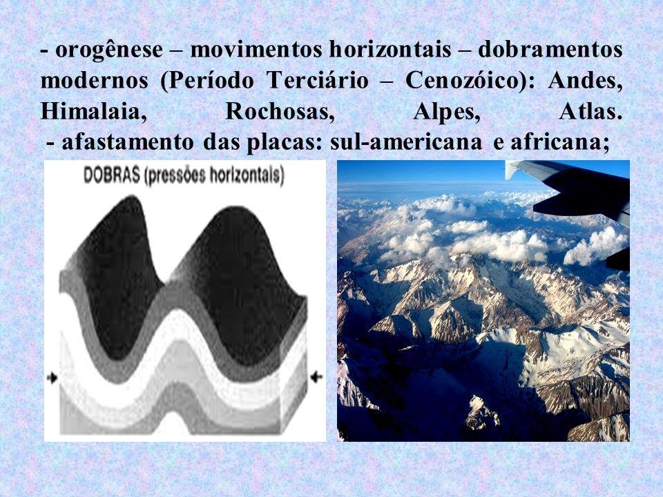 - orogênese – movimentos horizontais – dobramentos modernos (Período Terciário – Cenozóico): Andes, Himalaia, Rochosas, Alpes, Atlas.