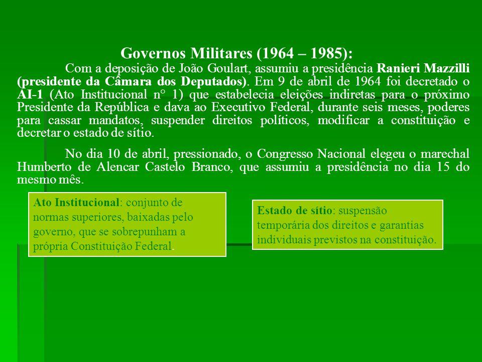 Governos Militares (1964 – 1985):