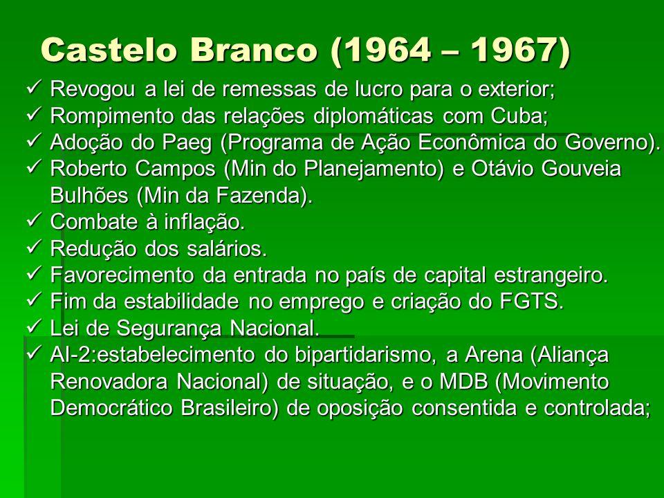 Castelo Branco (1964 – 1967) Revogou a lei de remessas de lucro para o exterior; Rompimento das relações diplomáticas com Cuba;