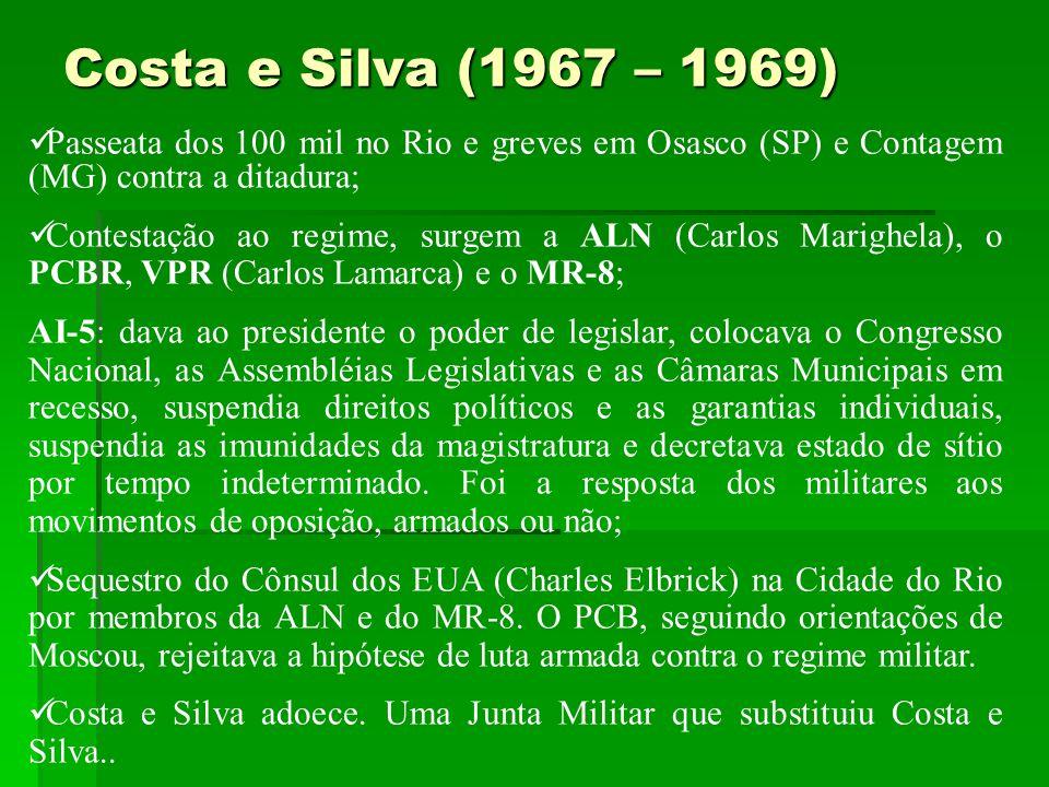 Costa e Silva (1967 – 1969) Passeata dos 100 mil no Rio e greves em Osasco (SP) e Contagem (MG) contra a ditadura;