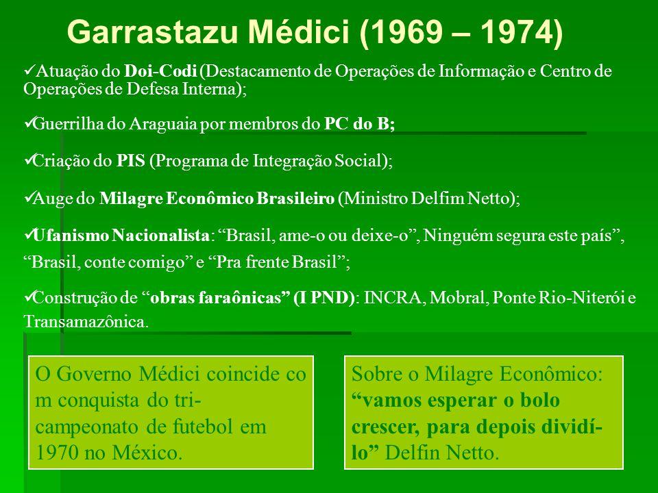 Garrastazu Médici (1969 – 1974) Atuação do Doi-Codi (Destacamento de Operações de Informação e Centro de Operações de Defesa Interna);