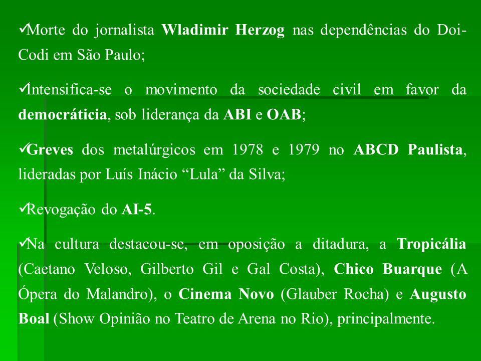 Morte do jornalista Wladimir Herzog nas dependências do Doi-Codi em São Paulo;