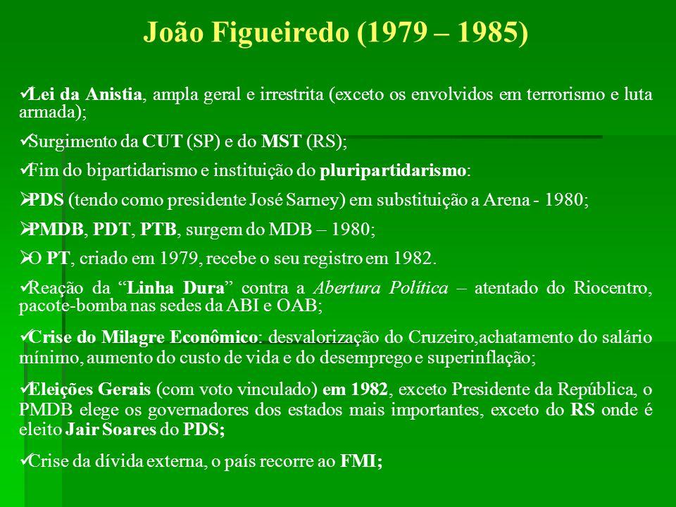 João Figueiredo (1979 – 1985) Lei da Anistia, ampla geral e irrestrita (exceto os envolvidos em terrorismo e luta armada);