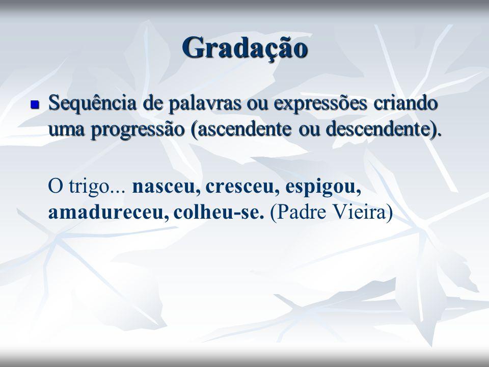 Gradação Sequência de palavras ou expressões criando uma progressão (ascendente ou descendente).