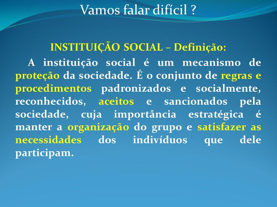 INSTITUIÇÃO SOCIAL – Definição:
