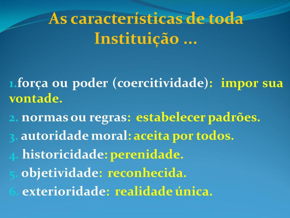 As características de toda Instituição ...