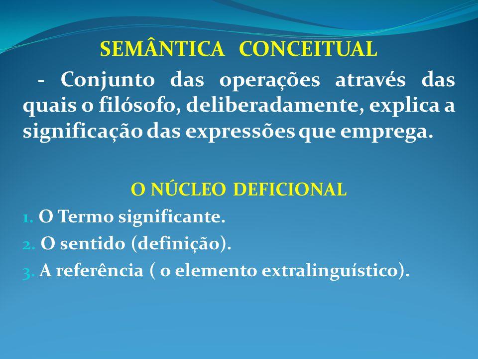 SEMÂNTICA CONCEITUAL - Conjunto das operações através das quais o filósofo, deliberadamente, explica a significação das expressões que emprega.