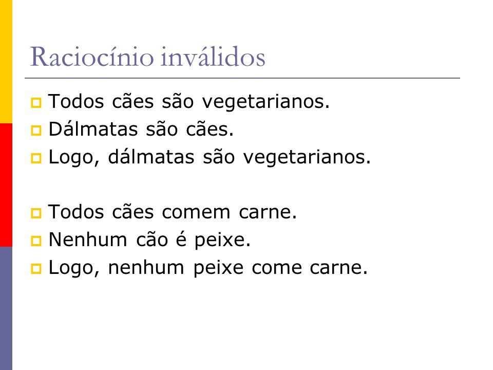 Raciocínio inválidos Todos cães são vegetarianos. Dálmatas são cães.