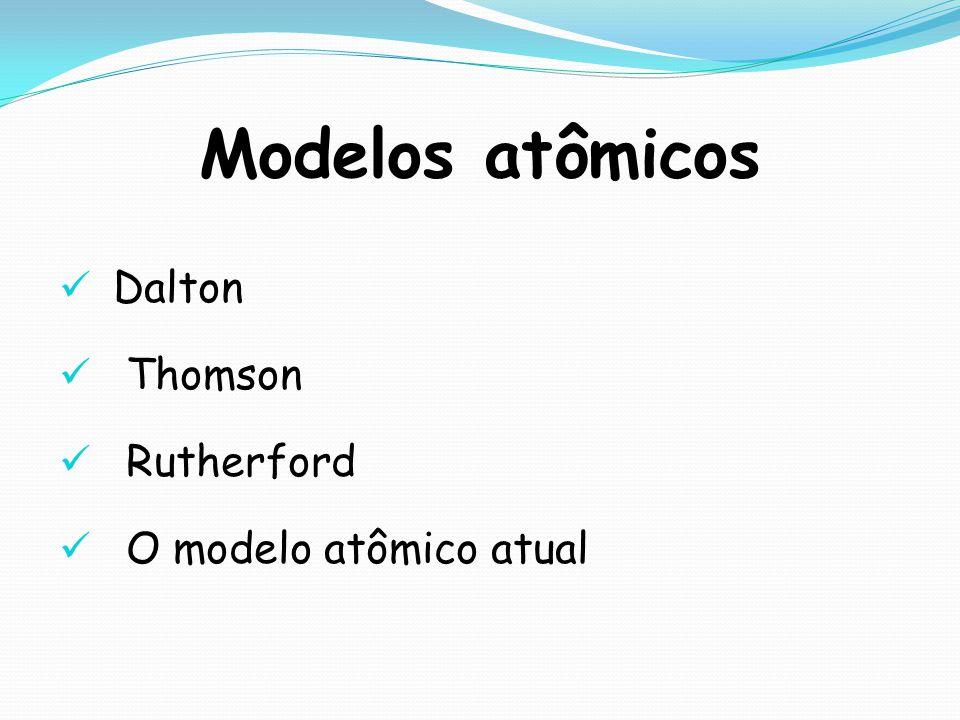 Modelos atômicos Dalton Thomson Rutherford O modelo atômico atual