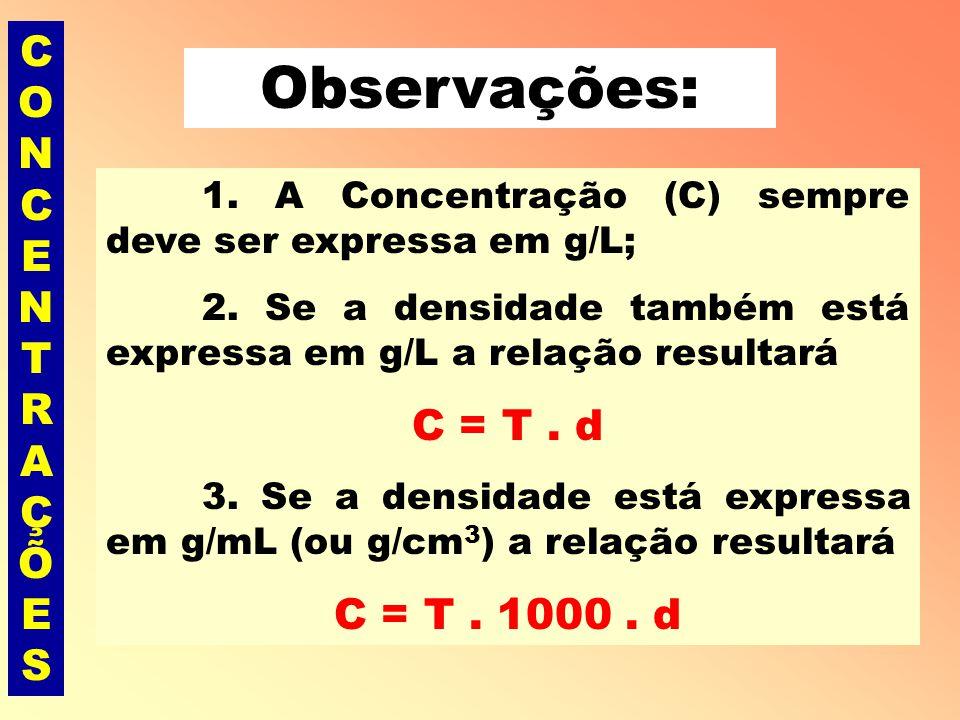 Observações: CONCENTRAÇÕES C = T . d C = T . 1000 . d